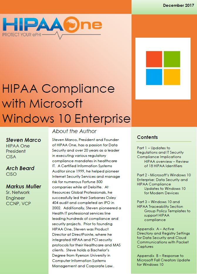Whitepaper HIPAA Compliance With Microsoft Windows 10 HIPAA One