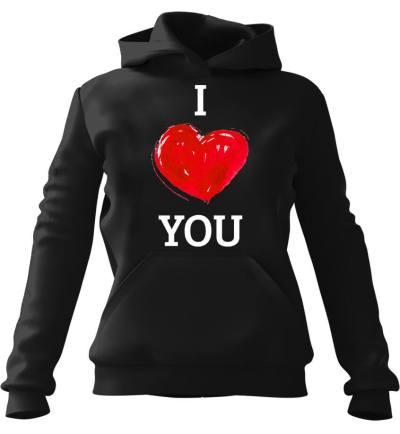 Bluza z kapturem I Love You Czarna