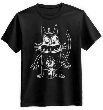 Przerażony-Kot-i-Mysz-czarna-koszulka-meska