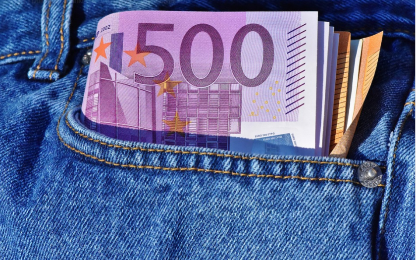 Euro bills in pocket