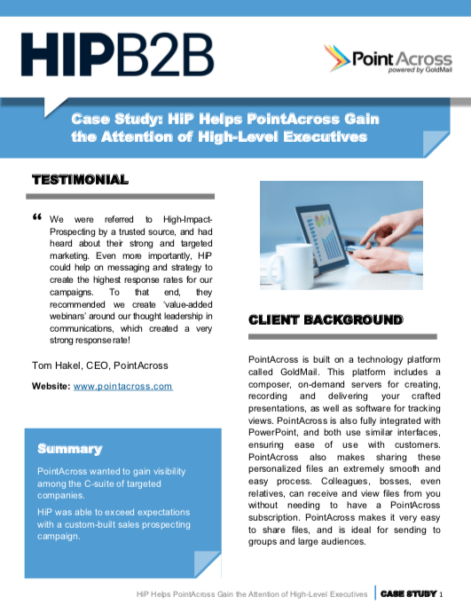 Case Study: HIPB2B Helps PointAcross Gain the Attention of High-Level Executives