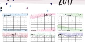 Free Printable kalender voor 2017