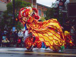 chinees nieuwjaar chinese draak dans