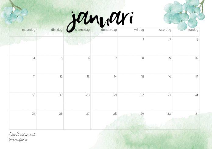 gratis Kalender 2021 januari