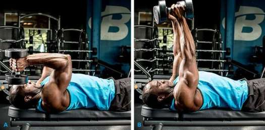 Execução correta do tríceps testa usando um par de halteres e pegada neutra