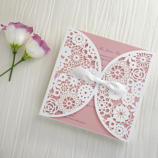 Personalised Lace Wedding Invitations Invites Laser Cut From Uk Peach Blush Pink By Hip Ay