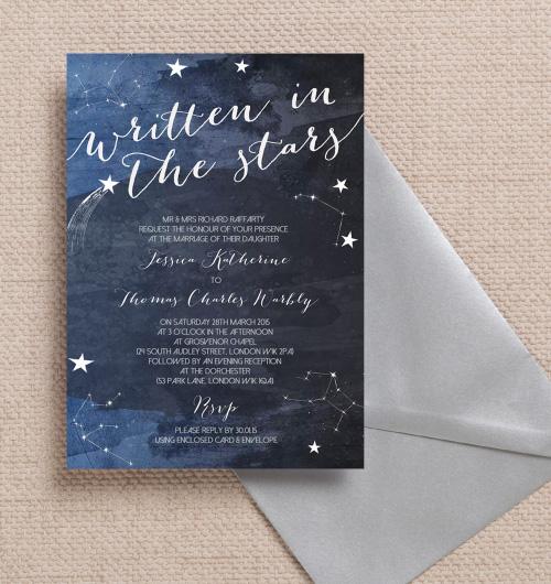 Navy Blue Night Sky Midnight Watercolour Stars Celestial E Constellations Astrology Astronomy Wedding Invitations Invites Printable