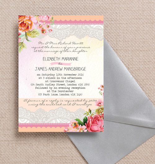 Pastel Peach Pink C Lace Roses Fl Flowers Watercolour Vine Wedding Invitations Invites Printable Printed By