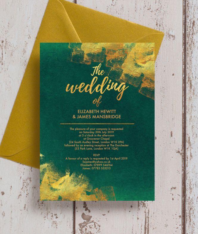 Emerald Green Gold Wedding Stationery