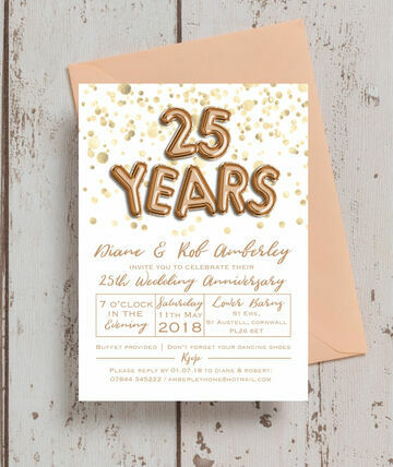 Gold Balloon Letters 25th Silver Wedding Anniversary Invitation 8 00 From 1 25 This Stunning Nbs