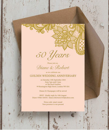 Gold Lace Inspired 50th Golden Wedding Anniversary Invitation 8 00 From 1 25 Begin Your Celebrations With A