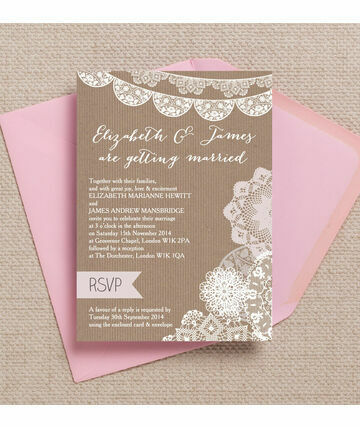 Rustic Lace Bunting Wedding Invitation 12 00 From 1 Featuring A Beautifully Kraft Background Wi