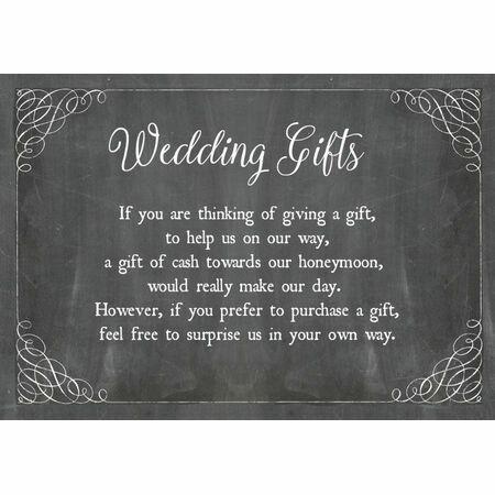 Chalkboard Wedding Gift Wish Card From 040 Each