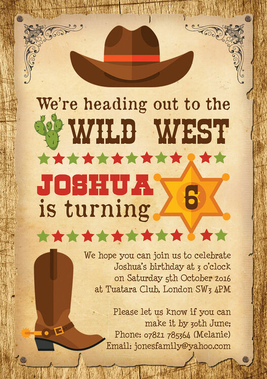 Cowboy Wild West Birthday Party Invitation From £0 80 Each