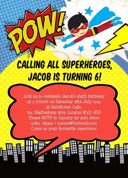 Superhero Children's Party Invitation From £0 80 Each