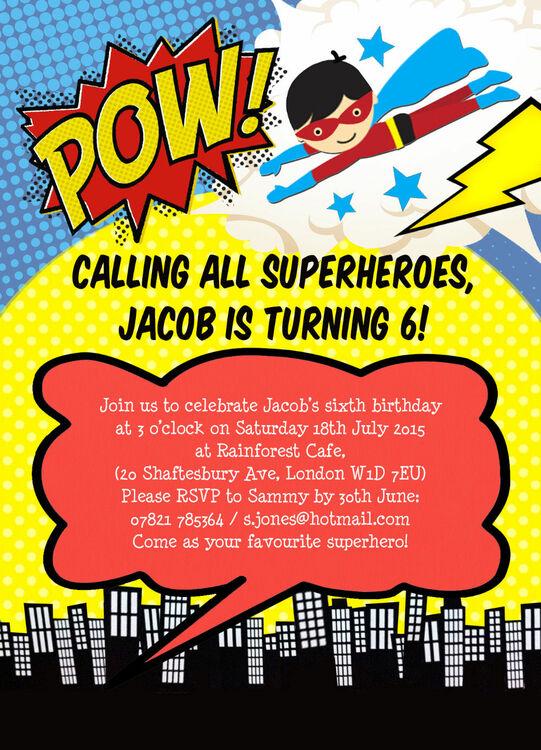 superhero invitations free