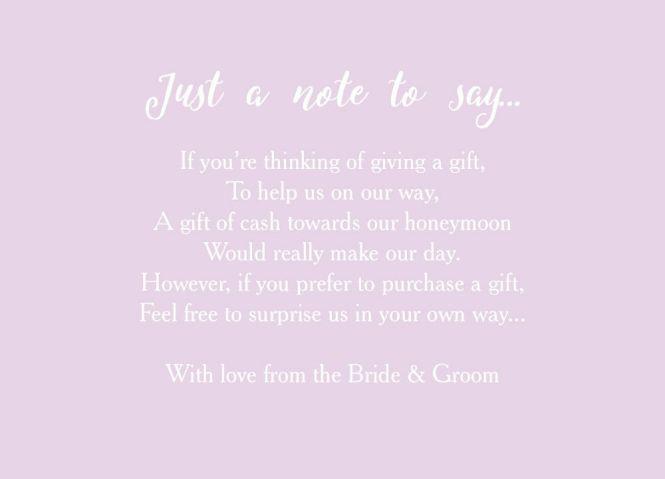 Wedding Gift List Wording Poems Asking For Honeymoon Money Invitation