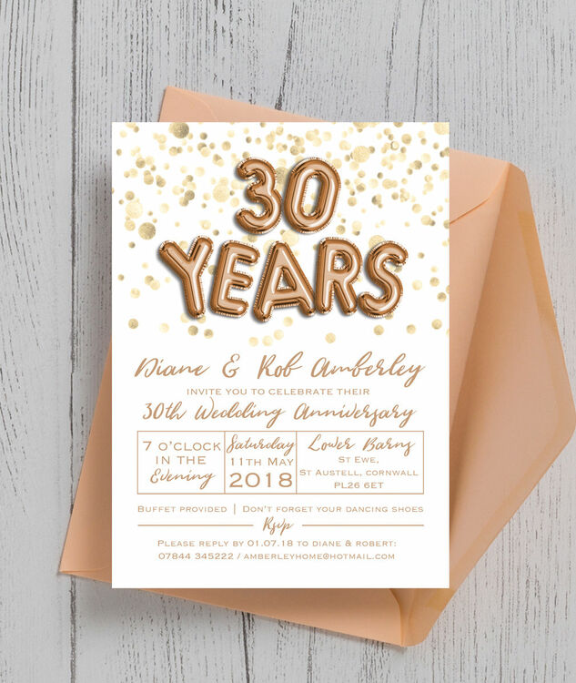 Gold Balloon Letters 30th Pearl Wedding Anniversary Invitation Additional 4