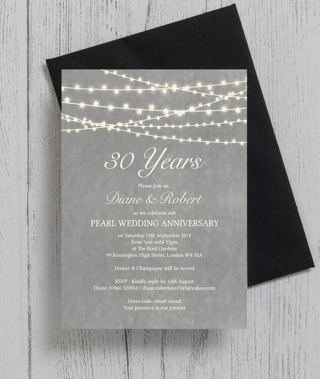 Grey Fairy Lights 30th Pearl Wedding Anniversary Invitation Additional 3