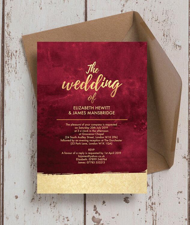 Burgundy Gold Wedding Invitation Additional 3