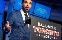 Toronto Raptors global ambassador Drake speaks at a news conference in Toronto on Monday September 30, 2013 to announce that the Raptors will host the 2016 NBA All Star Game. THE CANADIAN PRESS/Frank Gunn