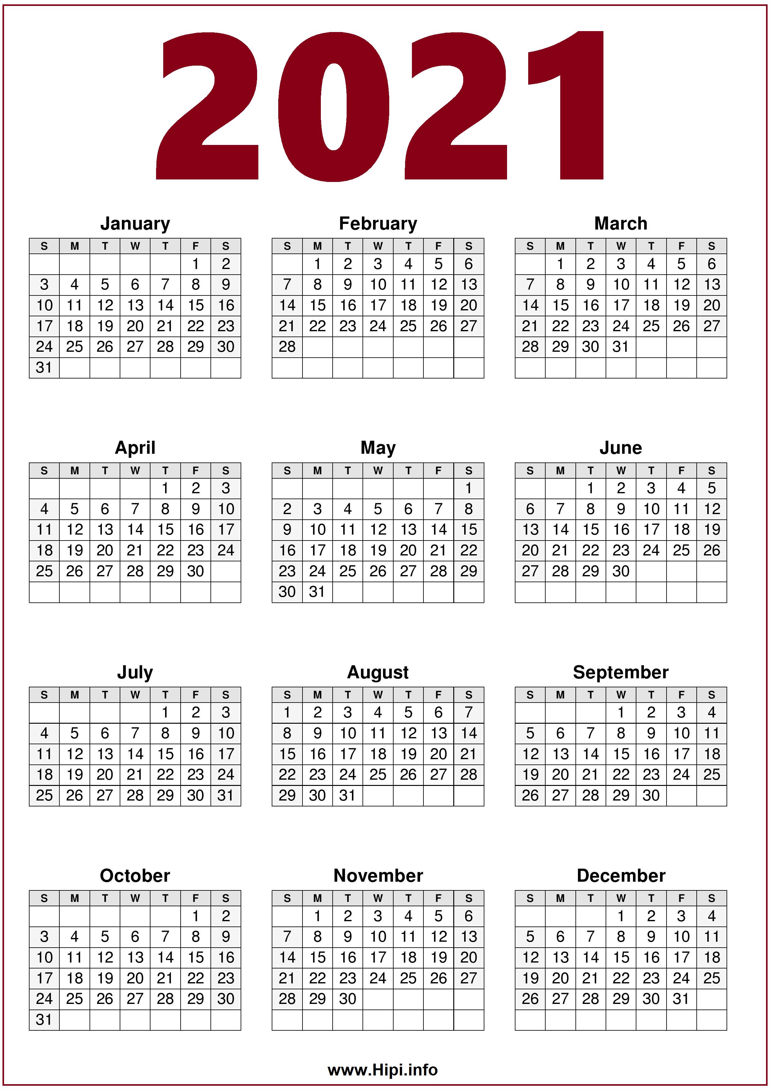 2021 Printable 1 Page Calendar   Calendar 2021