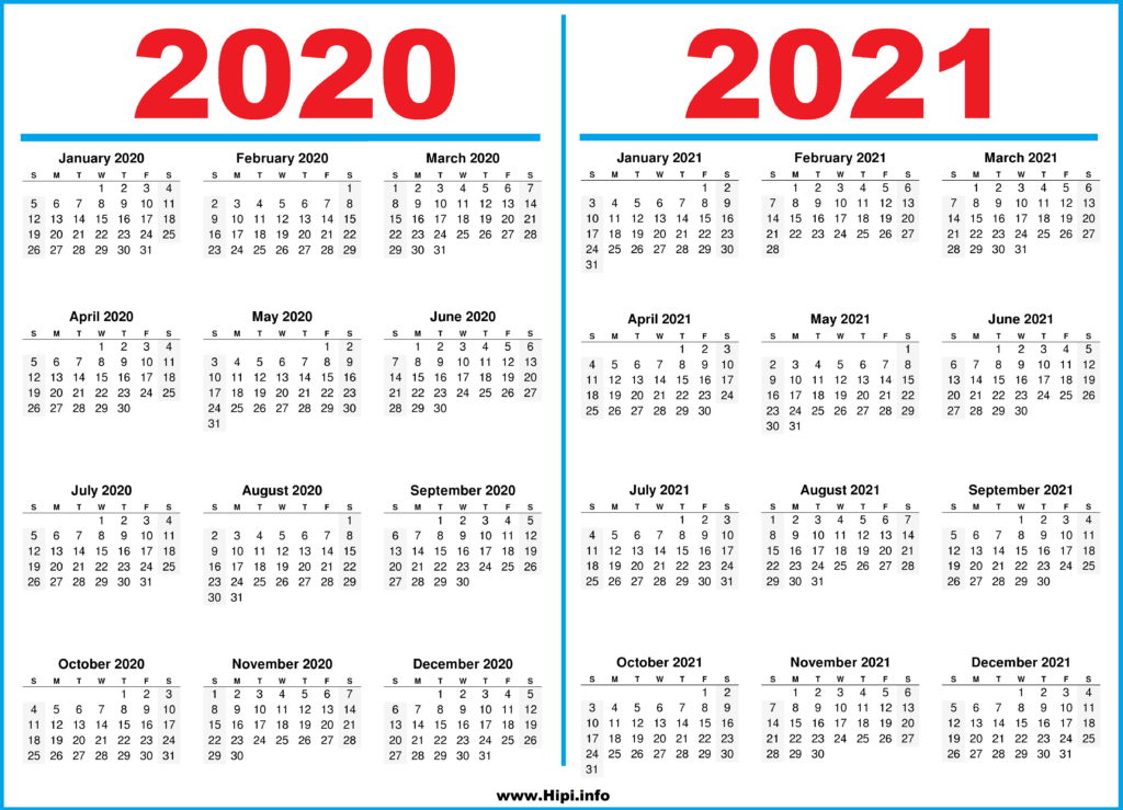 Printable 2 Year Calendar 2020 and 2021 - Hipi.info