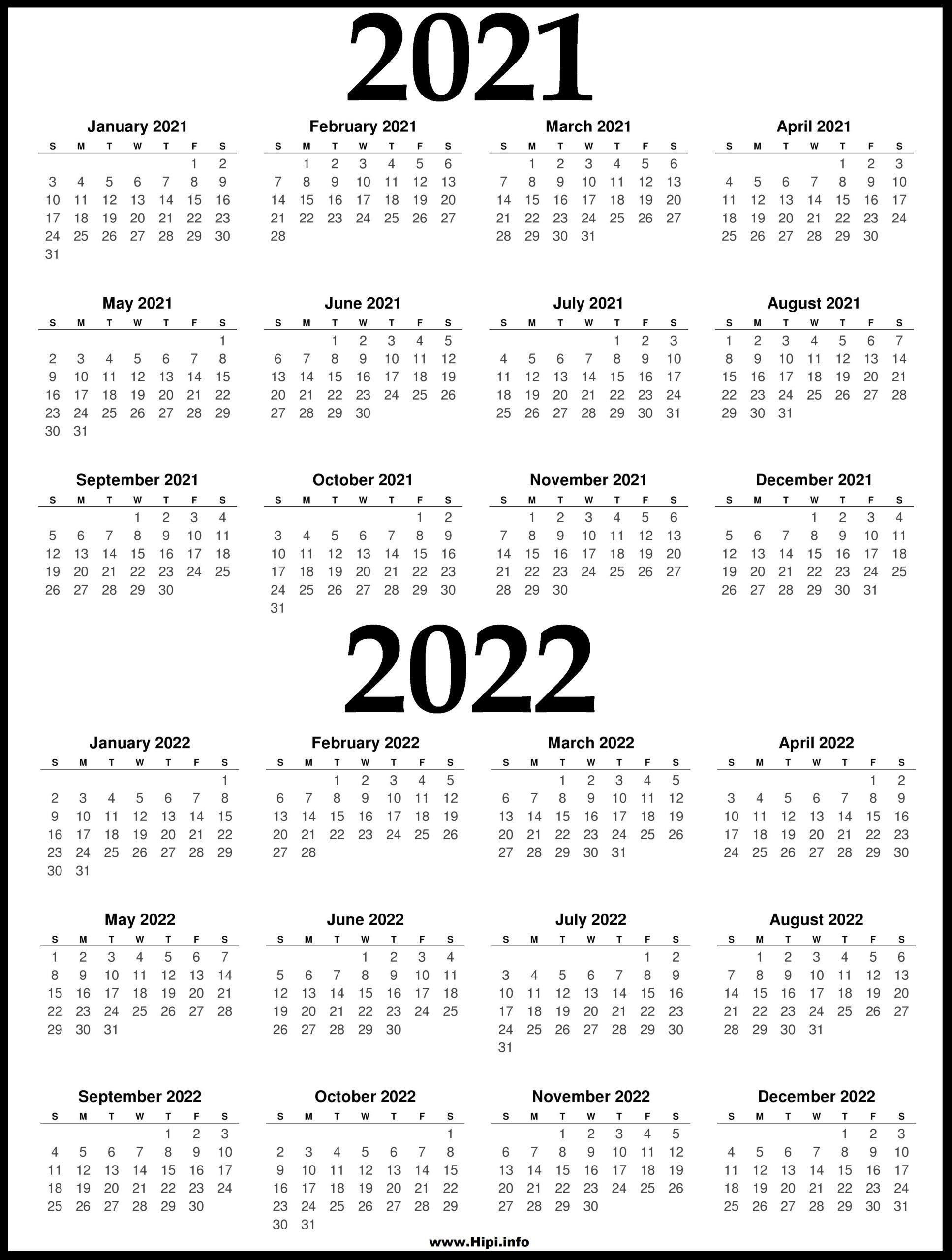 2021 and 2022 Printable Calendar - 2 Year Calendar - Hipi ...