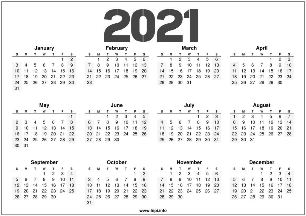 2021 Printable 12 Month Calendar Templates - Hipi.info ...