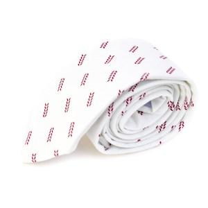 Witte stropdas met veertjes opdruk.