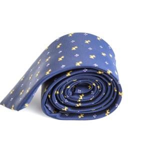 Blauwe stropdas met hondjes opdruk.
