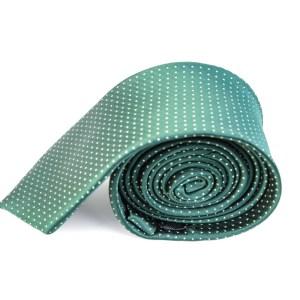 Groene stropdas met stippen.