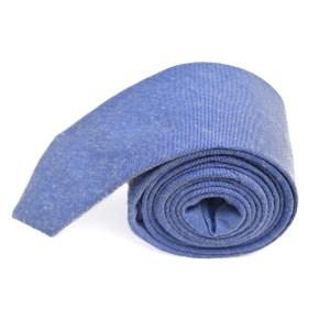Blauwe effen stropdas van katoen.