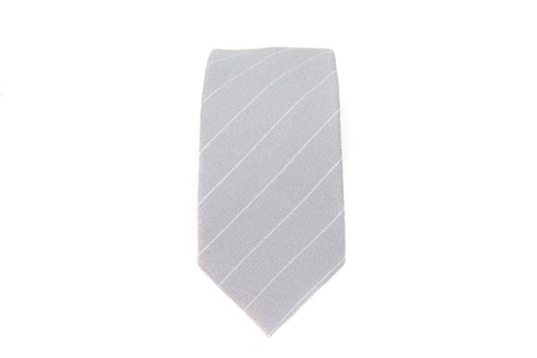 Grijze stropdas met witte lijn opdruk.
