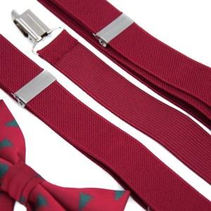 Rode bretels met een rood kerst vlinderstrikje.