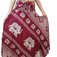 Bangkokpants Women's Long Bohemian Hippie Skirt Elephant One Size Fits Red