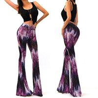 Novias Fashion High Waist Tie-Dye Paisley Inspired 70s Flared Bell Bottom Pants