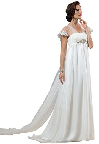 f6972248c7f63 CLOCOLOR Women's Lace Pregnant Cap Sleeve Maternity Wedding Dress