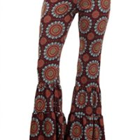 Sugar Rock Women Paisley Palazzo Hippie Pants Fold-Over Waist Bell Bottom Leg