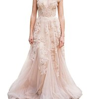 NINI.LADY Women's V Neck Sleeveless Lace Applique Tulle Beach Boho Wedding Dress