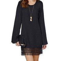 PAKULA® Women's Long Sleeve A line Lace Embellished Casual Dress