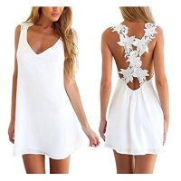 Voinnia® Women Sexy Backless Lace Crochet Chiffon Summer Beach Mini Dress