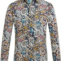 SSLR Men's Paisley Casual Button Down Long Sleeve Shirt