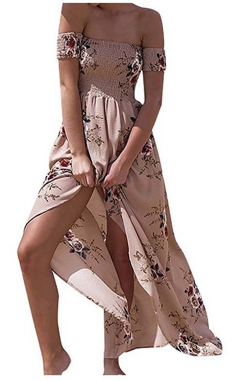 f9dd1a97 Vansha Women's Boho Off Shoulder Strapless Summer Beach Floral Slit Maxi  Dress   Hippie Clothes Shop