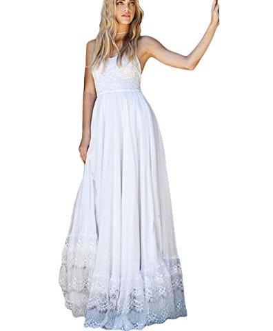 da7cef09364 Dressesonline Women s Lace Spaghetti Straps Beach Wedding Dress Long Boho  Wedding Dress