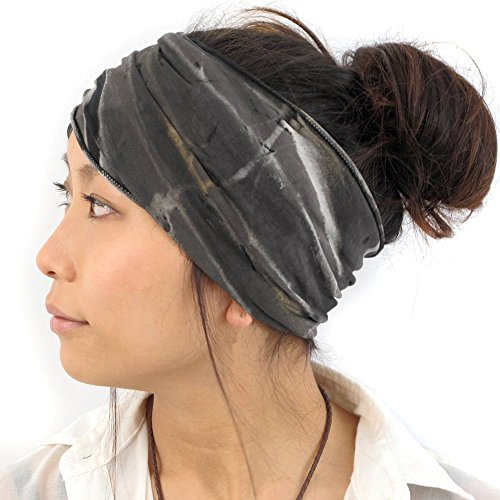 Women Black Retro Boho Shimmer Glitter cross elastic Hair Headband Bandana Wrap
