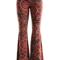 Fashionomics Womens Boho Printed Bell Bottom Stretchy Long Pants