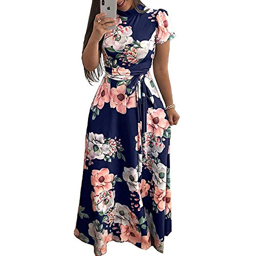 M/&S/&W Womens Summer Floral Print Loose Long Dress with Belt