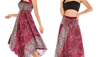 edc8bf083ebe7 Salamola Women's Long Hippie Bohemian Skirt Gypsy Dress Bohemian 2 in 1  Printed Beach Dress Skirt