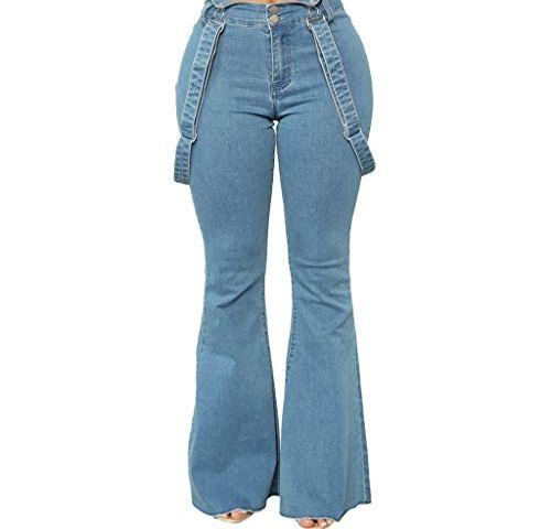 Forthery-Women Sleeveless High Waisted Zipper Front Bell Pants Suspender Jumpsuits Overalls